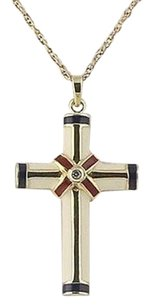 Cross Pendant Necklace - Sterling Silver Enamel Diamond Accent Religious 18