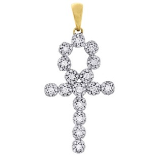 Other 10k Yellow Gold Genuine Diamond Egyptian Ankh Cross Cluster Pendant Charm 1 Ct.