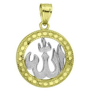10k Yellow White Gold Allah Pendant Muslim Gold Micro 0.8 Men Women Charm Sale