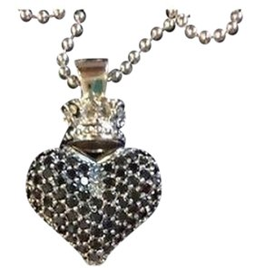 Queen Baby Sterling Silver Black Cz Heart Pendnat W Chain Max065907