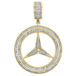 Other Mens 10k Yellow Gold Mercedes Medallion Real Diamond Pendant Pave Charm 0.46 Ct