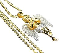 Sterling Silver Ascending Angel Lab Diamond Pendant Chain Yellow Gold Finish