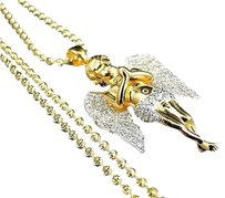 Other Sterling Silver Ascending Angel Lab Diamond Pendant Chain Yellow Gold Finish