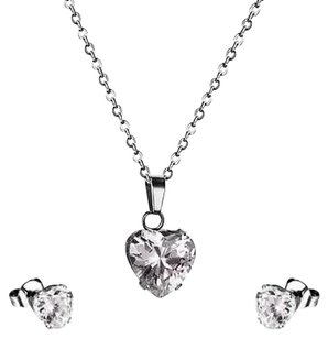 Stainless Steel Womens Pendant Clear Solitaire Cz Heart Earrings Necklace