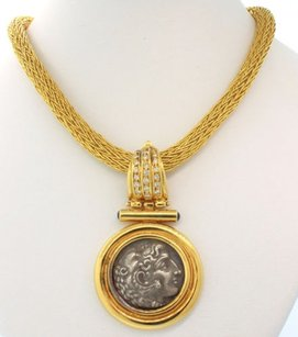 Vintage Estate 18k Yellow Gold Roman Coin Diamond Sapphire Pendant Necklace 18