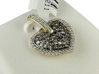 10k,Ladies,Womens,Yellow,Gold,Brown,White,Diamond,Heart,Love,Pendant,Charm