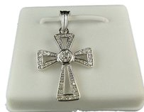 Mens,Ladies,White,Gold,Finish,Mini,Genuine,Diamond,Cross,Charm,Pendant