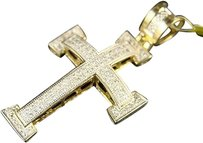 10k,Mens,Ladies,Mini,Diamond,Cross,Charm,Pendant,.55,Ct