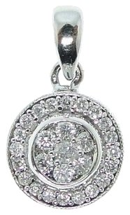 14k,White,Gold,Round,Circle,Diamond,Pendant,Charm,.33,C