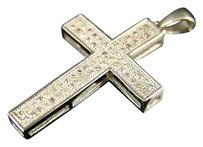 10k,Mens,Ladies,Mini,Diamond,Cross,Charm,Pendant,.35,Ct