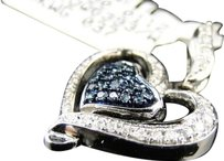 10k,Ladies,White,Gold,Bluewhite,Diamond,Heart,Fashion,Pendant,Charm,0.27,Ct