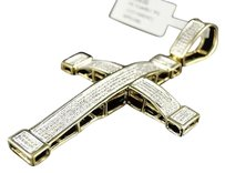 Mens,Yellow,Gold,Finish,Diamond,Cross,1.65,Ct