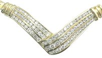 Fine Round Cut Diamond 3-row Bypass Yellow Gold Necklace 18.5 2.00ct