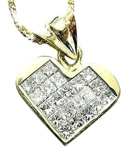 Other 18kt,Invisible,Set,Princess,Cut,Diamond,Heart,Pendant,Necklace,1.16ct