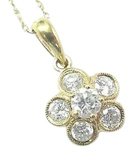18kt,Round,Cut,Diamond,Circular,Yellow,Gold,Pendant,Necklace,.56ct,20
