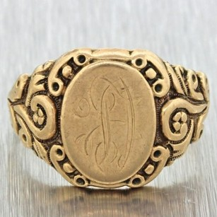 1880s Antique Victorian Estate 14k Solid Yellow Gold Engraved Signet Ring 7.9g
