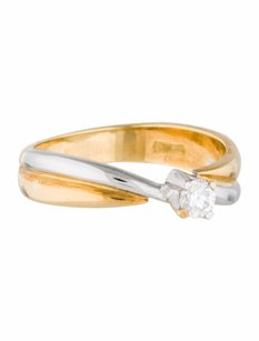 Estate 18k Two Tone Gold And 0.18ct Diamond Solitaire Ring