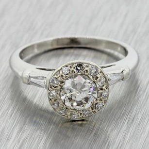 1940s Antique Art Deco Estate Solid Platinum .52ct Diamond Engagement Ring Egl