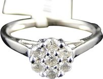 14k,White,Gold,Diamond,Flower,Cluster,Engagement,Ring,13,Ct