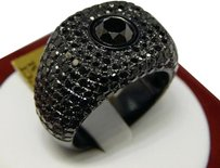 Mens,Solid,10k,Gold,With,Black,Pvd,And,Black,Diamond,Ring,Pinky,Band,7.67,Ct