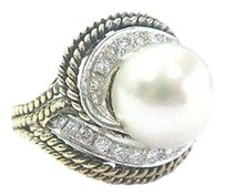 Fine Pearl Diamond Yellow Gold Jewelry Ring 10.9mm .50ct