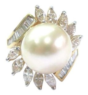 18kt South Sea Pearl Diamond Yellow Gold Jewelry Ring 12.1mm 1.34ct