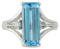 Other Blue Topaz Diamond Ring - 14k Gold Solitaire With Accents 5.85ctw