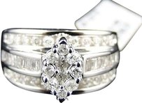10k,Ladies,White,Gold,Genuine,Diamond,Marquise,Engagement,Wedding,Ring,1.03,Ct