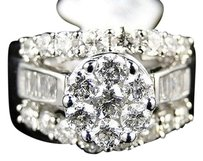 14k,White,Gold,Ladies,Diamond,Cluster,Flower,Designer,Engagement,Ring,Band,2.0ct