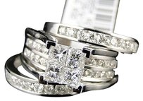 14k,White,Gold,Ladies,Princess,Diamond,Wedding,Engagement,3piece,Ring,Set,2.00ct