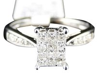14k,White,Gold,Ladies,Womens,Engagement,Princess,Diamond,Wedding,Band,Ring,.48ct
