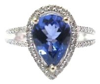 Fine,Gem,Pear,Shape,Tanzanite,Diamond,Jewelry,Ring,14kt