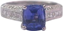18kt,Gem,Tanzanite,Diamond,Solitaire,W,Accents,Jewelry,Ring,Wg,2.97ct