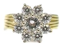 Fine,18k,Circular,Flower,Diamond,Solitaire,With,Accents,Ring,Yellow,Gold,2.01ct,