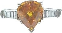Fine,Gem,Yellow,Sapphire,Diamond,White,Gold,Jewelry,Ring,4.10ct