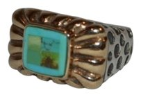 - Dian Malouf Silver 14k Gold Turquoise Rectangle Ring- Sizer