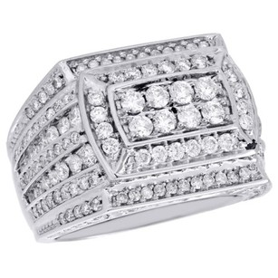 Other Mens 14k White Gold Round Cut Diamond Rectangular 18mm Pinky Ring Band 3.95 Ct.