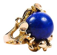 Vintage Gold Tone Blue Lapis Ball Abstract Statement Ring