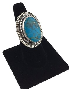Other 925 Sterling Silver Rope Design Oval Turquoise Stone Ring
