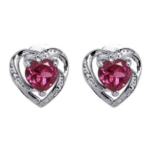Diamond Heart Earrings Sterling Silver Solitaire Created Pink Sapphire 2.21 Tcw