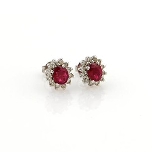 Other Vintage 1.30ct Ruby Diamond 14k White Gold Oval Stud Earrings