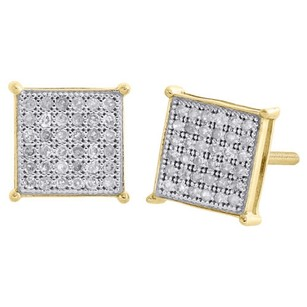 10k Yellow Gold Pave Diamond Square Studs 8.25mm Prong Earrings 0.20 Ct.