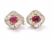 18kt Gem Ruby Diamond Yellow Gold Ballerina Earrings 6.21ct