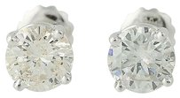 Diamond Stud Earrings - 18k White Gold Screw-on Backs Pierced 2.10ctw