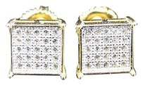 925 Sterling Silver Yellow Gold Finish Simulated Diamond Prong Square Stud
