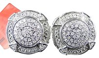 Mens,Round,Handset,White,Diamond,Stud,Earrings,12,Mm