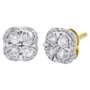 10k Yellow Gold Genuine Diamond Studs 8mm Square Cluster Halo Earring 0.59 Ct.
