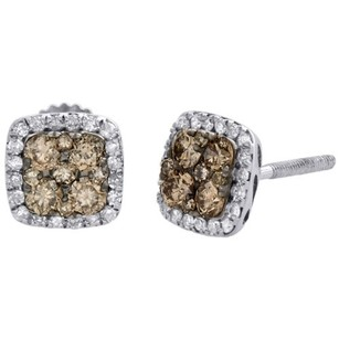14k White Gold Brown Diamond Flower Studs Square Halo 6.75mm Earrings 0.50 Ct.