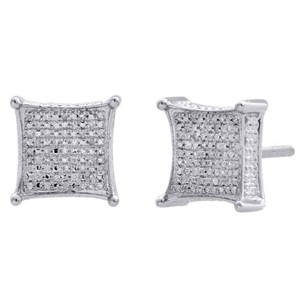 Diamond 3d Kite Shape 4-prong Earrings Sterling Silver 10.50mm Pave Studs 14 Ct