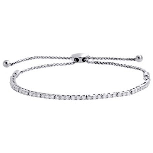 10k White Gold 1 Row Prong Set Genuine Diamond Tennis Bolo Bracelet 11 - 1 Ct.